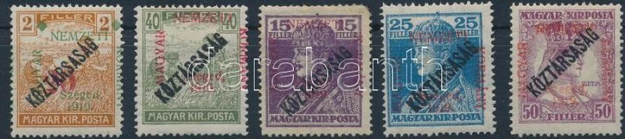 Szeged 1919 5 klf Köztársaság érték Bodor vizsgálójellel (9.350)