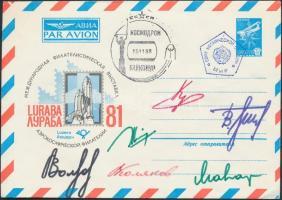 Alekszandr Volkov (1948- ), Szergej Krikalev (1958- ), Valerij Poljakov (1942- ), German Tyitov (1935-2000) és Oleg Makarov (1933-2003) szovjet és Jean-Loup Chrétien (1938- ) francia űrhajósok aláírásai emlékborítékon Signatures of Aleksandr Volkov (1948- ), Sergei Krikalev (1958- ), Valeriy Polyakov (1942- ), German Titov (1935-2000) and Oleg Makarov (1933-2003) Soviet and Jean-Loup Chrétien (1938- ) French astronauts on envelope