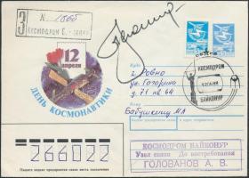 Alekszej Leonov (1934- ) orosz űrhajós aláírása emlékborítékon Signature of Aleksey Leonov (1934- ) Russian astronaut on envelope