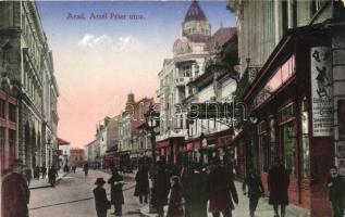 Arad, Atzél Péter utca, Apollo, Sándor Dezső cipőüzlete, Kerpel Izsó kiadása / street