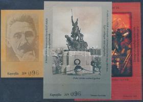 2002/35-37 Egri évfordulók 3 klf emlékív azonos fekete 095 sorszámmal (3.000)