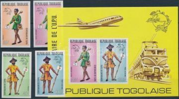 1974 100 éves az UPU: régi postásegyenruhák sor Mi 1035-1038 B + blokk Mi 84 B
