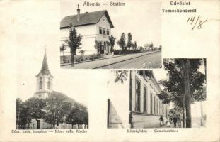 Temeskenéz, Satchinez; vasútállomás, római katolikus templom, községháza / railway station, church, town hall (Rb)