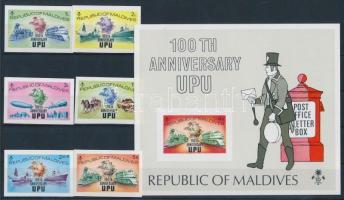 1974 100 éves az UPU sor Mi 514-519 B + blokk Mi 25 B