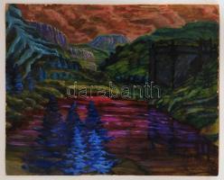 Márffy jelzéssel: Lila hegy. Olaj, farost, 60×75 cm