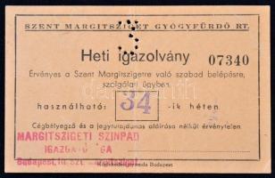 1924 A Szent Margitsziget heti igazolványa, hajtásnyommal