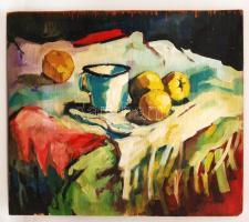 Nagy jelzéssel: Asztali csendélet. Olaj, falemez, sérült, 46×54 cm