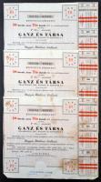 Budapest 1946. Ganz és Társa Villamossági, Gép, Waggon- és Hajógyár Rt. részvényelismervénye 10db, egyenként 25P névértékű részvényről (3x), sorszámkövetőek, szárazpecséttel, szelvényekkel T:II-,III folt, tűnyom