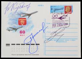 Valerij Kubaszov (1935-2014), Alekszej Leonov (1934- ) és Vitalij Szevasztyjanov (1935-2010) orosz űrhajósok aláírásai levelezőlapon /  Signatures of Valeriy Kubasov (1935-2014), Aleksey Leonov (1934- ) and Vitaly Sevastyanov (1935-2010) on postcard