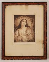 Prihoda István (1891-1965): Áhítat. Rézkarc, papír, jelzett, üvegezett keretben, 30×23 cm