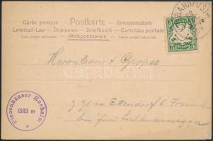 1909 Képeslap vasúti bélyegzéssel