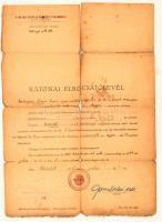 1944 Katonai elbocsájtólevél megviselt állapotban
