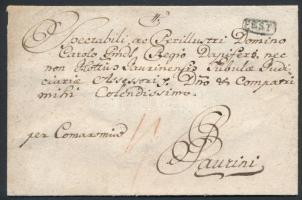 1781 Portós levél / Unpaid cover PEST - Győr