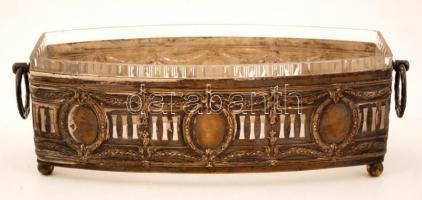 Füles kínáló, eredeti csiszolt üvegbetéttel, apró csorbával, jelzés nélkül, rezezett fém, 29×10 cm, m:9,5 cm