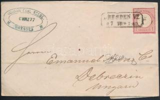 1877 1Gr levélen DRESDEN VII. - DEBRECZEN VÁROS