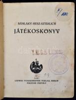 Bánlaky-Hesz-Sztrilich: Játékoskönyv. Berlin, 1927, Ludwig Voggenreiter. Magyar osztály. Átkötött, javított gerincű félvászon, 120 p. A könyv megviselt állapotban. Volt könyvtári bélyegzővel.