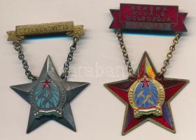 1953. Sztahanovista zománcozott fém kitüntetés + DN Szakma Kiváló Dolgozója - Gépipar zománcozott fém kitüntetés; a két kitüntetés egy, nem saját tokban T:2,2-