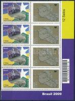 Greetings stamp, Train, Map corner block of 4 with personified coupons, Üdvözlet bélyeg, Vasút, Térkép ívsarki nyolcastömb megszemélyesített szelvényekkel