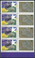 Greetings stamp, Train, Map margin block of 8 with personified coupons, Üdvözlet bélyeg, Vasút, Térkép ívszéli nyolcastömb megszemélyesített szelvényekkel