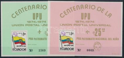 1974 100 éves az UPU vágott blokk pár Mi 66-67