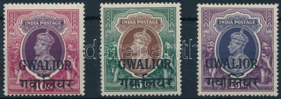 Gwalior George VI. set 3 closing values Gwalior VI. György sor 3 záróértéke