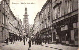 Pozsony, Pressburg, Bratislava; Mihály kapu utca, H. Wimmer József üzlete / street, shops (b)
