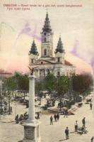 Óbecse, Becej; Szent István tér, Görög keleti szerb templom, piac, kiadja Radoszavlyevits / square, Greek Orthodox Serbian church, market