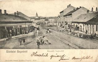 Ungvár, Uzhhorod; Kossuth tér, Hübschmann Lipót kereskedése; kiadja Steinfeld Dezső / square, shop (fa)