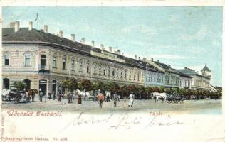 Békéscsaba, Főtér, Fiume szálloda, Dohánynagytőzsde kiadása No. 6267.