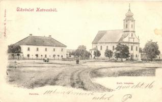 Hatvan, tér, Katolikus templom, Parókia, kiadja Hoffmann M.
