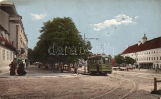 Nagyszeben, Hermannsplatz, villamos / square, tram (kopott sarok / worn edges)