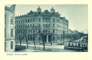 Eszék, Esseg, Osijek; Fő posta hivatal, villamos / post office, tram (EK)