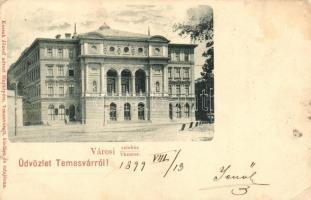 1899 Temesvár, Timisoara; Városi színház, kiadja Kossak József udvari fényképész / theatre (EK)