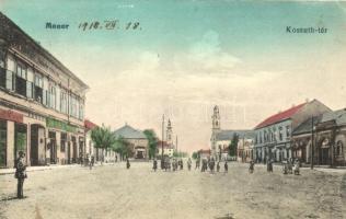 Monor, Kossuth tér, Takarékpénztár, Szemes Sándor üzlete (EK)