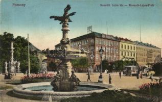 Pozsony, Pressburg, Bratislava; Kossuth Lajos tér, villamos / square, tram (EK)