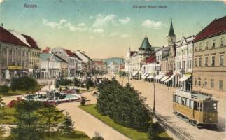 Kassa, Kosice; Fő utca felső része, 1-es villamos / main street, tram (EK)