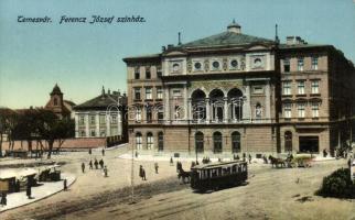 Temesvár, Timisoara; Ferenc József színház, villamos / theatre, tram (kis szakadás / small tear)