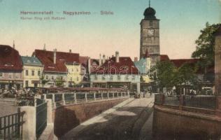 Nagyszeben, Hermannstadt, Sibiu; Kleiner Ring mit Ratturm Kis körút, Tanácstorony, Carl F. Jickeli üzlete / boulevard, tower, shop (Rb)