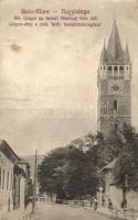 Nagybánya, Baia Mare; Crisan utca, római katolikus templom/ street, church
