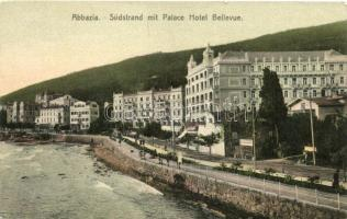 Abbázia, Abbazia, Opatija; Südstrand mit Palace Hotel Bellevue / beach, hotel