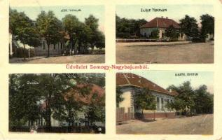 Nagybajom, Izraelita iskola, református templom, római katolikus iskola, óvoda, kiadja Steiner Ignác és fia (EB)