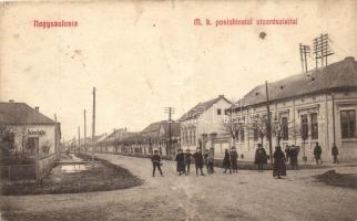 Nagyszalonta, Salonta; Magyar királyi postahivatal, utcarészlet, kiadja Patócs János / post office, street (b)