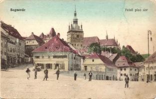 Segesvár, Schässburg, Sighisoara; Felső piac sor, H. Girscht üzlete / market, shop (EK)