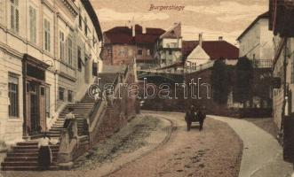 Nagyszeben, Hermannstadt, Sibiu; Várlépcső, kiadja Karl Engber / Burgerstiege / castle stairs (EB)