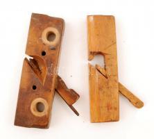 Régi asztalos szerszám: fa gyalu, hiányos, 2db, cca 25x7x4cm