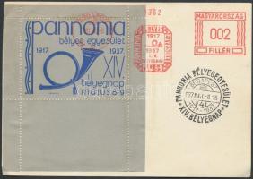 1937 Pannonia kék emlékív címzetlen levelezőlapon alkalmi bélyegzéssel