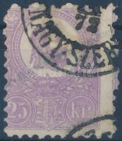 1871 Kőnyomat 25kr sötétibolya, képbe fogazva (80.000) (rövid sarokfog / short corner perf)