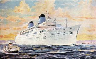 R.H.M.S. Ellinis, Chandris Lines ship, art postcard, s: Derrick Snoothy, R.H.M.S. Ellinis, Chandris Lines hajó, művészeti képeslap, s: Derrick Snoothy