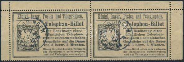 1894 Díjjegyes telefonjegy pár / PS-telephone ticket pair Mi TB 19, kék / blue LAMERDINGEN
