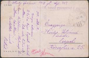 """Field postcard """"M.kir. Pécsi 19. honvéd gyalogezred 3. zászlóalj"""" + """"TP 414 a"""", Tábori posta képeslap """"M.kir. Pécsi 19. honvéd gyalogezred 3. zászlóalj"""" + """"TP 414 a"""""""